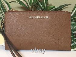 Michael Kors Jet Set Travel Double Zip Wallet Phone Case Wristlet Brown Leather