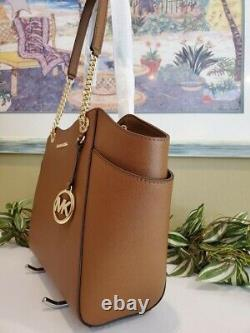 Michael Kors Jet Set Travel Large Chain Shoulder Tote Luggage Brown Leather $378
