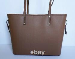 Michael Kors Jet Set Travel Large Drawstring Leather Tote Bag Brown Luggage