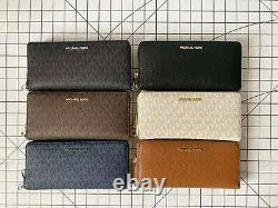 Michael Kors Jet Set Travel Large Travel Continental Signature Leather MK Wallet