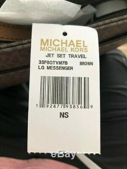 Michael Kors Jet Set Travel Logo Large Messenger Crossbody Bag Brown Luggage NEW