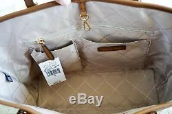 Michael Kors Jet Set Travel Med Carryall Tote Shoulder Leather Bag Brown Luggage