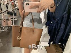Michael Kors Jet Set Travel Medium Carry All Luggage(brown)Saffiano Leather Tote