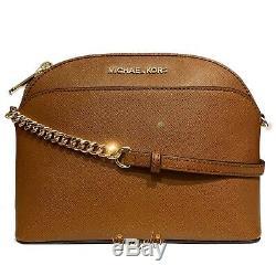 Michael Kors Jet Set Travel Medium Dome Crossbody Saffiano Leather Bag Luggage