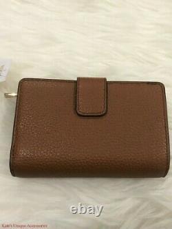 Michael Kors Jet Set Travel Medium Leather Bifold Zip Coin Wallet Luggage $188