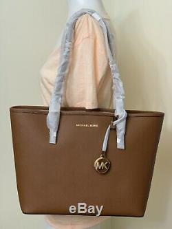 Michael Kors Jet Set Travel Medium Saffiano Leather Carryall Tote in Luggage