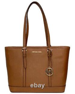 Michael Kors Jet Set Travel Small Top Zip Shoulder Tote Leather Bag Luggage