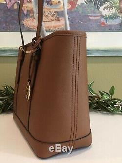 Michael Kors Jet Set Travel Small Zip Shoulder Tote Bag Luggage Brown Leather
