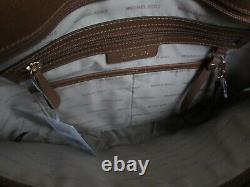 Michael Kors MK Jet Set Large Snap Pocket Leather Tote Luggage Brown 07026742