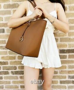 Michael Kors Shania Jet Set Chain Large Shoulder Tote Bag Luggage Brown Leather
