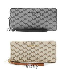Michael kors jet set travel continental wristlet logo wallet luggage NWT