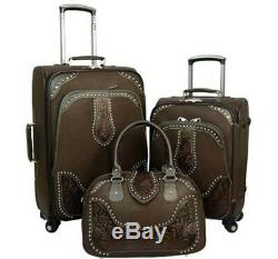 Montana West Tooled Leather Collection 3 PC Luggage Set-Coffee 37% off MSRP
