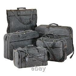 NEW LUXURIOUS TRAVEL LUGGAGE 5-pc SET, JUTE TWEED PULLMAN, GARMENT, DUFFEL BAG