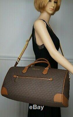 NWT MICHAEL KORS JET SET TRAVEL Duffel Bag In BROWN/LUGGAGE MK Sig PVC/Leather