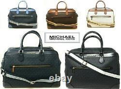 NWT MICHAEL KORS JET SET TRVL LG Weekender Duffel Bag In VARIOUS COL MK Canvas