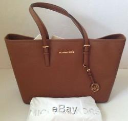 NWT Michael Kors Jet Set Travel Medium Multifunction Leather Tote Luggage Brown