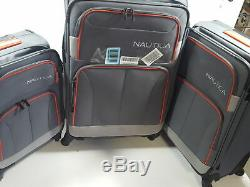 Nautica 3 Piece Spinner Luggage Set, Charcoal Grey/orange