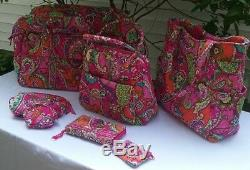 New 7 Pieces Vera Bradley Pink Multi-colors Luggage Set New Mint Cond