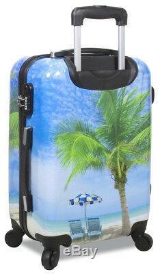 New Dejuno 3 Pcs Light Weight Hard Shell Spinner Upright Luggage Set Palm Tree