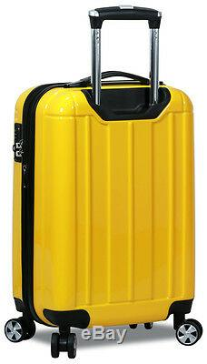 New Dejuno 3 Piece Polycarbonate Hard Shell Spinner Suitcases Luggage set-Yellow