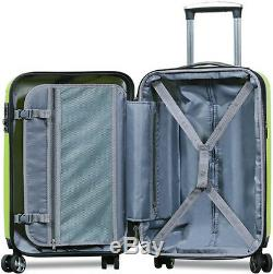 New Dejuno 3 Piece Polycarbonate HardShell Spinner Suitcases Luggage set -Lime