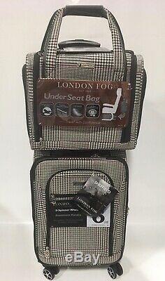 New London Fog Sheffield 4pc Light Luggage Set Expandable Black Houndstooth