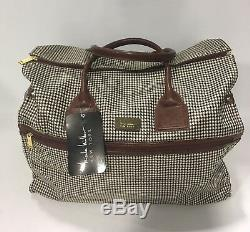New Nicole Miller 4 Pc Brown Houndstooth Expandable Luggage Set $1000 Spinner