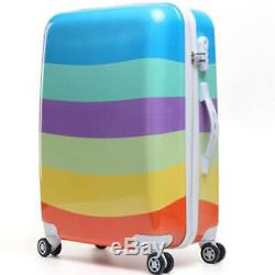 New Rainbow 1 Pcs Luggage Travel Set Bag ABS Trolley Suitcase Wheels Coded Lock
