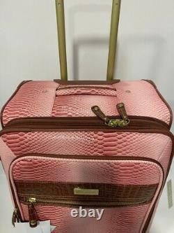 New Samantha Brown Embossed 3pc Luggage Set Dusty Rose/camel Ombre