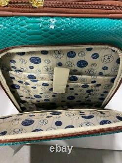 New Samantha Brown Embossed 3pc Luggage Set Peacock / Camel Ombre
