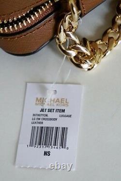 Nwt Michael Kors Jet Set Item East West Leather Cross Body Bag Brown(luggage)