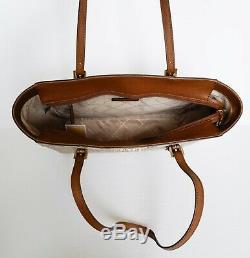 Nwt Michael Kors Jet Set Travel Medium Top Zip Tote Pvc Leather Mk Khaki Luggage