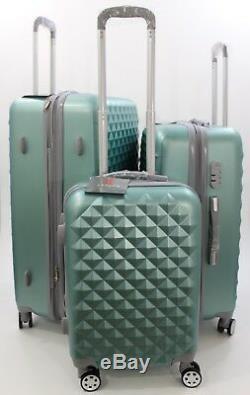 Nwt Silver Green Spinner Hardcase Suitcase Luggage Upright 302620 3pcs/set