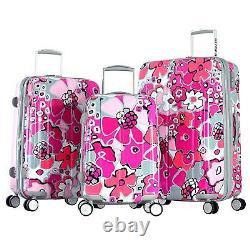 Olympia Blossom 3 Piece Expandable Polycarbonate Hardcase Luggage Set-Fuchsia Co