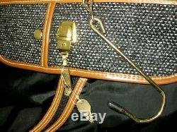 Oscar de La Renta Vintage Luggage Set Travel Bags Studio Tweed Black/Gray 5 pc