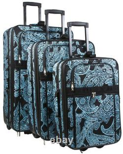 Paisley Expandable 3 pc Piece Luggage Set for Travel Soft Sided Check In