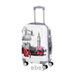 Paris UK USA 4 Wheel Hard Shell Trolley Suitcase Luggage Set Cabin Case Travel