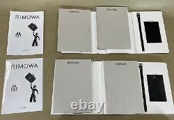 RIMOWA Leather Luggage Tags Set of 2 Black Luggage Tags with Booklets & Stickers
