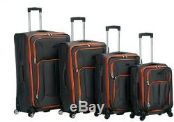 ROCKLAND Luggage Impact Soft-Side Set Lightweight, Spinner Wheels Gray (4-Piece)