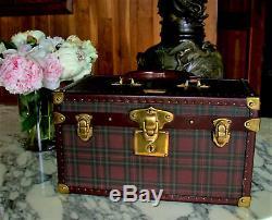 Ralph Lauren Travel Bag Set Purse Vanity Tartan Leather Gold Brass Boite Flacons