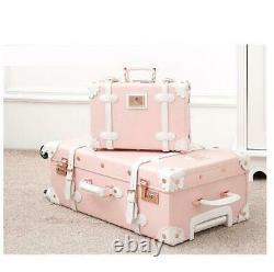 Retro Vintage Trolley Luggage Girl Women 202224 Inch Case Travel Set Spinner