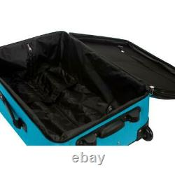 Rockland Luggage Set Polyester Carry-On Bag Softside 4-Wheel Turquoise (4-Piece)