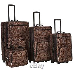 Rockland Safari 4pc Rolling Luggage Set Brown Leopard