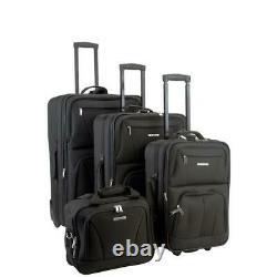 Rockland Sydney Collection Expandable 4-Piece Softside Luggage Set, Black