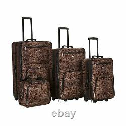 Rockland Travel Luggage Set Brown Leopard Medium F125 4Pc Telescoping Expandable