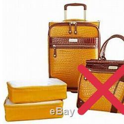 Samantha Brown 3pc Luggage Set 22 Upright 2 Packing Cubes Mustard Yellow NWT