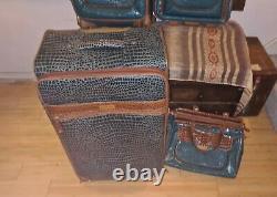 Samantha Brown 4-piece Croco Luggage Set 25, Peacock Green Unused Shape Tags