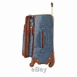 Samantha Brown Croco Embossed Luggage 4-piece Set BlACK NEW