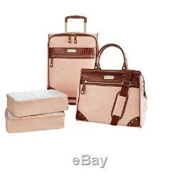 Samantha Brown Croco Embossed Luggage 4-piece Set Nude NEW