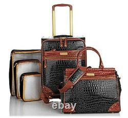 Samantha Brown Embossed 5-Piece Luggage Set with packing cubes and dowel tote
